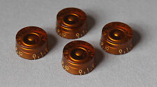 Amber Speed Knobs Set/4 For USA Split Shaft Pots Fits Gibson® Guitars