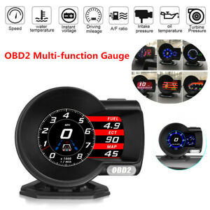 Car OBD2 Multi-function Gauge HD Head-Up Digital Display Fuel Speed RPM Oil Temp