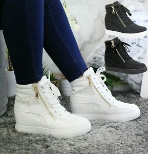 Diamante Hidden Wedge Sneakers High Top Trainers Womens Ladies Ankle Boots Shoes