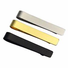Vintage Metal Silver Black Gold Tone Simple Necktie Tie Pin Bar Clasp Clip