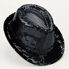 Black Sequin Trilby Hat - Bugsy Malone Fancy Dress - Dance Costume