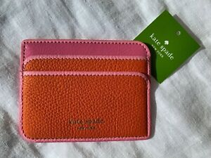 KATE SPADE NEW YORK WOMENS SMALL ORANGE LEATHER WALLET CARD CASE HOLDER W. TAG