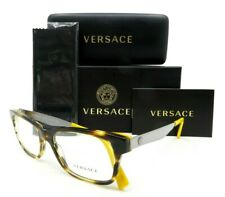 VERSACE Havana Yellow and Silver Men Rx.Glasses, New w/Case MOD 3245 5236 53mm