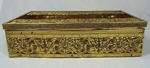 Vintage Ornate Hollywood Regency Floral Filigree Tissue Kleenex Box Holder Gold