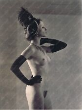 9x12 Signed B&W Hendrickson Print Nude Showgirl Beauty Gloves Feathers Necklace