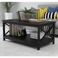2 Tier Modern Wood Coffee Table w/Storage Shelf for Living Room Furniture Black