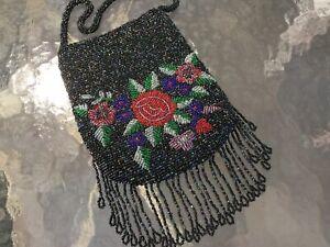 Antique Vintage Iridescent Glass Beaded Purse~Evening Bag w Red Rose & Fringe