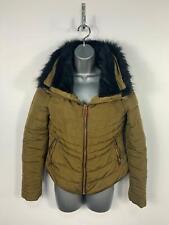 Womens Zara Basic Brown Zip Casual Padded Winter Puffer Rain Coat Jacket Size S