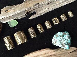 8 x Bronze Tone Dreadlock Beads 4-10mm Hole Mix Viking Dread Beard Hair Beads Uk