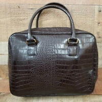 "Alligator Tote Bag Zipped Handbag Purse Embossed Faux Leather Dark Brown 13"""