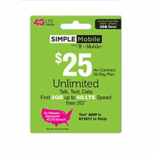 SIMPLE MOBILE FAST ONLINE REFILL - $25 ReUp Prepaid Airtime