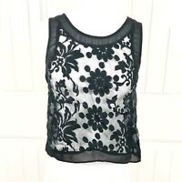 ASTR Nordstrom Womens Black Sheer Floral Embroidered Sleeveless Crop Top Size XS