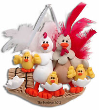 HALF BAKED HEN  CHICKENS Family of 5 Personalized Ornament HANDMADE by Deb & Co.