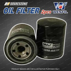 2 x Wesfil Oil Filters for Subaru Forester S4 Outback BR BS 4Cyl EE20 DOHC 16V