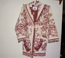 NEW Garden Floral Butterfly Sweater Coat Burgundy Mauve made from Afghan Throw