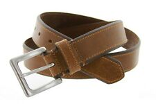 Mens Genuine Solid Leather Stylish Beveled Casual Jean Belt 1-3/8
