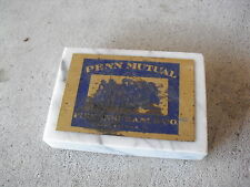 Vintage Marble Base Paperweight - Penn Mutual Fire Insurance West Chester Pa
