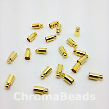 Brass Cord Ends 8mm x 4mm Barrel - Pack of 30, Gold Coloured - braiding kumihimo