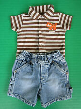 Carters Boys 6-9mo Tiger Shirt PLC Jeans Carpenter Shorts Childrens Summer Set