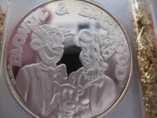 1-OZ.999 PURE SILVER 1987 AMC CARTOON CELEBRITIES DAGWOOD & BLONDIE COIN+GOLD