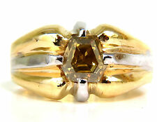 GIA NATURAL FANCY GREEN YELLOW BROWN 1.00CT DIAMOND RING 18KT+