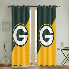 Green Bay Packers Thicken Blackout Curtain Panels Bedroom Window Drapes 1 Pair
