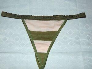 Victoria Secret Cotton Signature Waistband Low rise V String Thong Size M