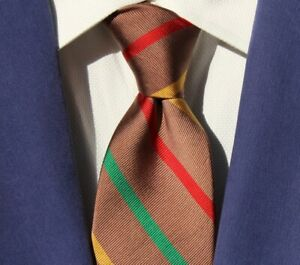 Robert Talbott / At-Ease Vintage Taupe, Green, Yellow, & Red Striped Silk Tie