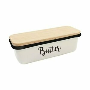 TableCraft Enamelware Farmhouse Butter Dish with Wooden Cover