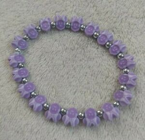New Purple Minnie Mouse Beaded Stretchy Bracelet Bow Easter Pastel Color