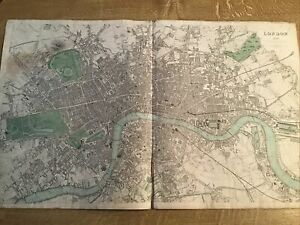 """ANTIQUE MAP LONDON 1843 FROM """"A SERIES OF MAPS, MODERN & ANCIENT"""" SDUK BR DAVIES"""
