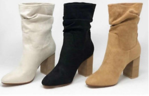 Women's Boots Thick Heel Casual Mid-Tube Faux Suede Rider Riding Boots Fashion