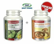 Ginkgo Biloba 6000mg 360 Tablets + L Arginine 500mg 240 Capsules | Circulation
