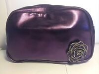 Lancome Clutch Bag Shiny Purple Cosmetic Purse with Rose Accent Makeup Bag NWOT
