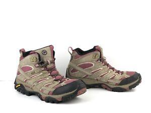 Merrell Womens Moab 2 Mid Waterproof Hiking Boots Size 11 Boulder/Blush J06052