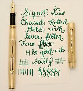 Vintage Gold SIGNET Fountain Pen - 14k FINE FLEX nib flexes to 2.0 mm - RESTORED