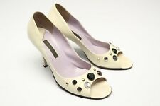 Marc Jacobs Crystal Studded Peep Toe Heels 9 M Ivory Cream Leather Gem Bling