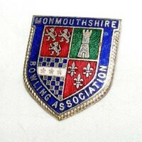 VINTAGE ENAMEL MONMOUTHSHIRE BOWLING ASSOCIATION BROOCH / BADGE / PIN