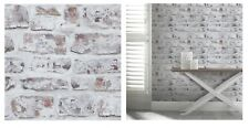Arthouse Whitewashed Rustic Brick Wallpaper 671100, SAMPLE ONLY