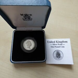 1988 £1 Silver Proof One Pound Coin Boxed With COA