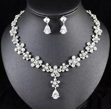 Daisy CZ Stone & Crystal Rhinestone Necklace Earring Set Bridal Prom Silver N106