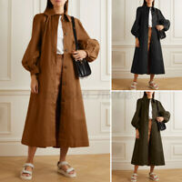 UK Women Long Coat Down Puff Sleeve OvercoatTrench Loose Solid Outerwear Plus