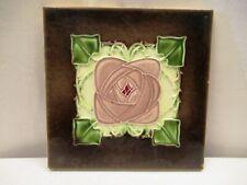 Antique Tile Art Nouveau Majolica Porcelain England Flowers Design Decorativ*503
