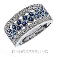 Diamond & Blue Sapphire Half Eternity Wedding Ring 1.20ct F VS & 18ct White Gold