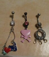 Lot of 3 Belly Button Ring Dangle Navel Set Piercing Body Jewelry Dream Catcher