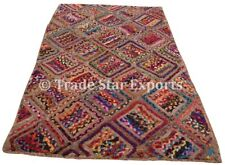 Indian Braided Floor Rug Boho Jute Cotton Rug Handmade Rectangular Floor Mat Art