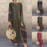ZANZEA Women Long Sleeve Floral Print Long Shirt Dress Caftan Midi Dress Plus