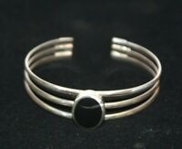 Vintage Sterling Silver and Onyx Cuff Bracelet Signed_QG Thailand