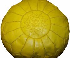 Ottoman Footstool Poof Moroccan Hand Made Leather Poufs Hassack Large Yellow
