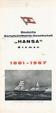 Deutsche Dampfschiffahrts Gesellschaft Hansa Bremen 1881 Folder 1967 Prospekt